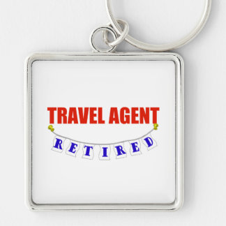 Retired Travel Agent Silver-Colored Square Key Ring