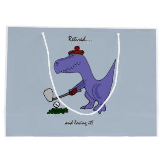 Retired Trex Dinosaur Playing Golf Large Gift Bag