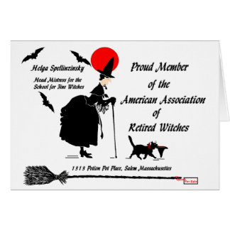 Retired Witch Announcement Greeting Card