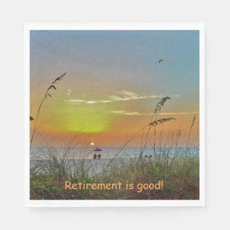 Retirement Beach Sunset Paper Napkin
