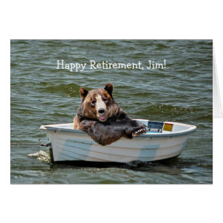 Retirement Bear in Boat Cards