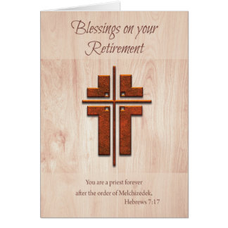 Retirement Blessings Priest, Cross on Wood Greeting Card