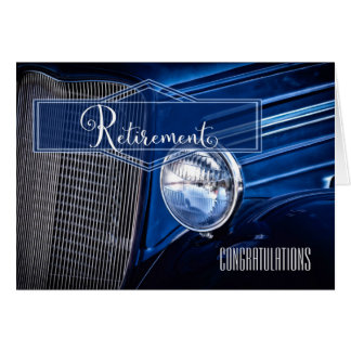 Retirement Congratulations - Blue Vintage Car Card