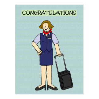 Retirement Congratulations Cabin Crew Postcard