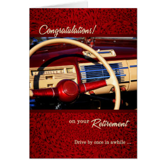 Retirement Congratulations Classic Car Deep Red Card