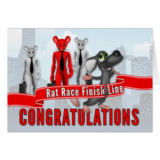 Retirement Congratulations - Funny Rat Race Theme Card