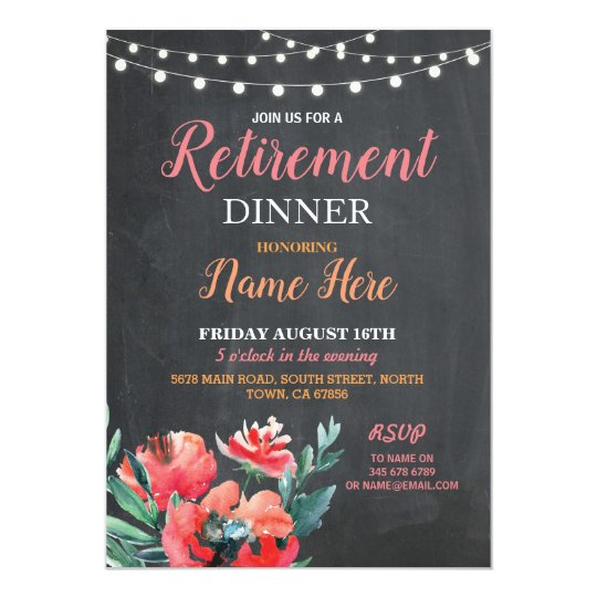 Retirement Dinner Invite  Party Women's Floral