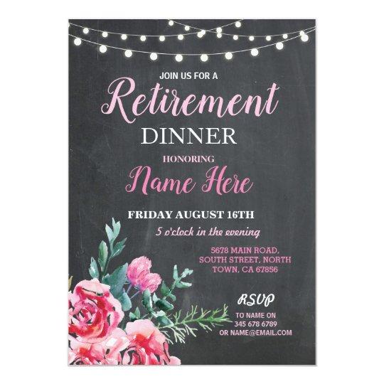 Retirement Dinner Party Women's Flower Pink Invite