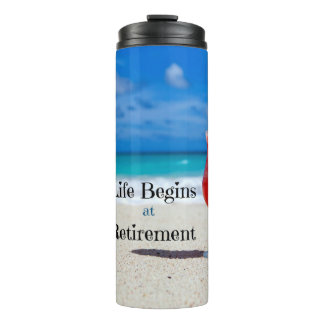 Retirement, Frosty Drink on the Beach Thermal Tumbler
