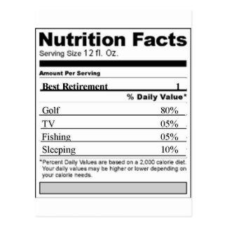 Retirement Funny Nutrition label Postcard