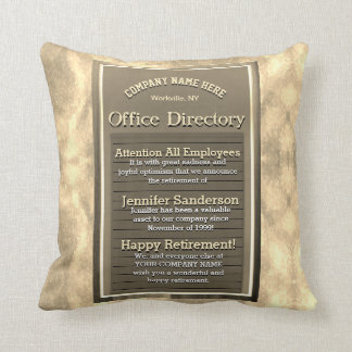 Retirement Gift Custom Golden Vintage Sign Throw Pillow