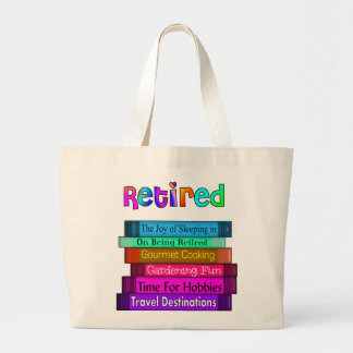 Retirement Gifts Unique Stack of Books Design Large Tote Bag