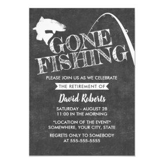 Retirement Gone Fishing Rustic Chalkboard Card