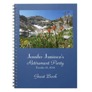 Retirement Guest Book, Mountains Lake Wildflowers Notebook