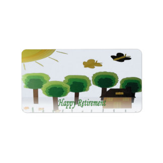 Retirement Happy Green Landscape Art Label Address Label