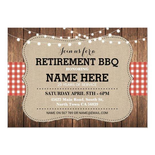 Retirement Invitation BBQ Retired Party Red Invite