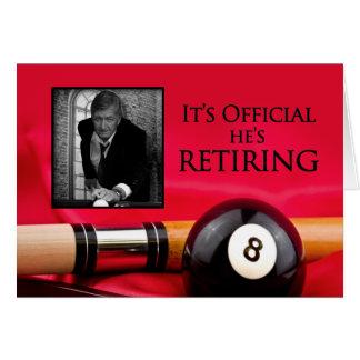 RETIREMENT INVITATION  - BILLIARDS - PHOTO INSERT GREETING CARDS