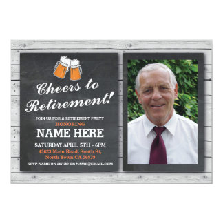 Retirement Invitation Photo Cheers Beers Pub Party