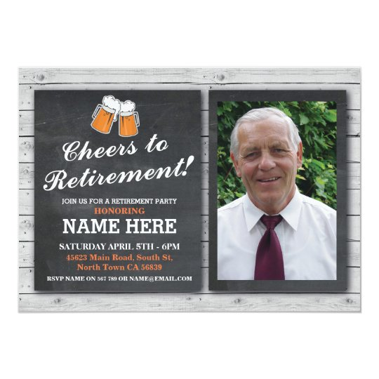 Retirement Invitation Photo Cheers Beers Pub Party