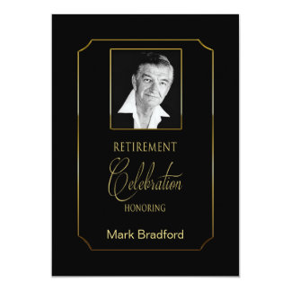 Retirement Invitation - Photo Insert - Black/gold
