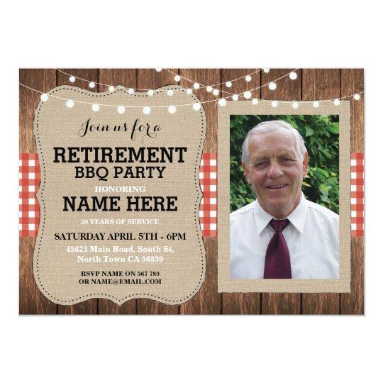 Retirement Invitation Photo Party BBQ Red Invite