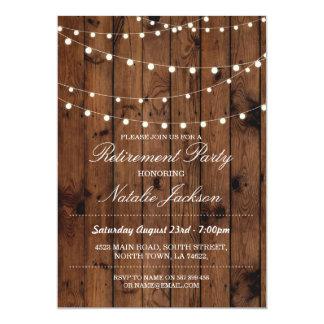 Retirement Invitation Wood Elegant Lights Invite