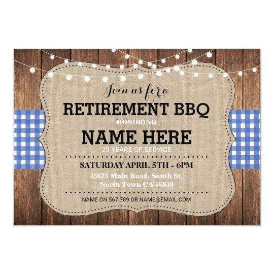Retirement Invite BBQ Retired Party Blue Gingham