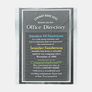 Retirement Message on an Office Directory SIgn Fleece Blanket