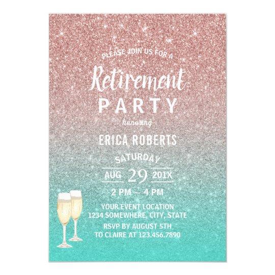 Retirement Modern Turquoise & Rose Gold Glitter Card