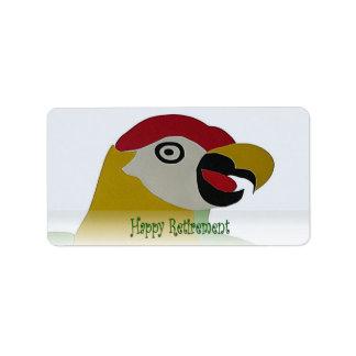 Retirement Parrot Head Collage Green Label Address Label