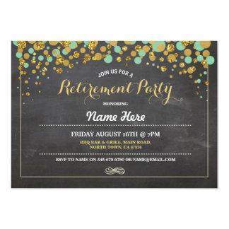 Retirement Party Chalk Mint Gold Dotty Invite