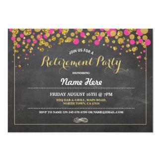 Retirement Party Chalk Pink Gold Dotty Invite
