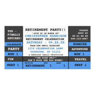 Retirement Party Concert Ticket Invitation Personalized Photo Card