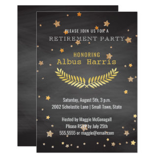 Retirement Party Gold Stars | Chalkboard Teacher Card