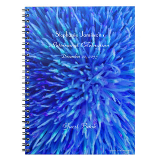 Retirement Party Guest Book, Blue Abstract Floral Notebook