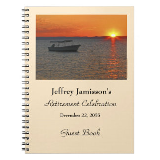Retirement Party Guest Book, Fishing Boat Notebook