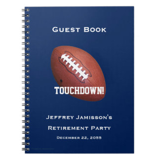 Retirement Party Guest Book, Football, Touchdown Notebook