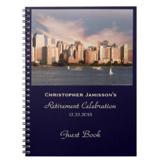 Retirement Party Guest Book, NYC Manhattan Skyline Spiral Notebooks