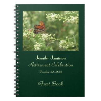 Retirement Party Guest Book, Orange Butterfly Notebook