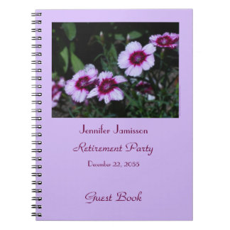 Retirement Party Guest Book, Purple Flowers Notebook