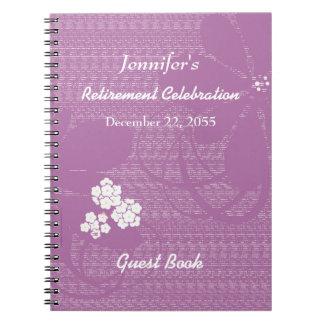 Retirement Party Guest Book Purple, White Floral