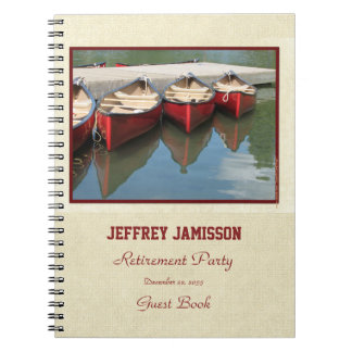 Retirement Party Guest Book, Red Canoes Notebook