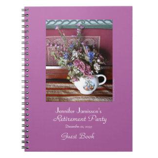 Retirement Party Guest Book, Vintage Teapot Notebook