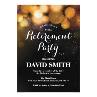 Retirement Party Invitation Card Gold Glitter