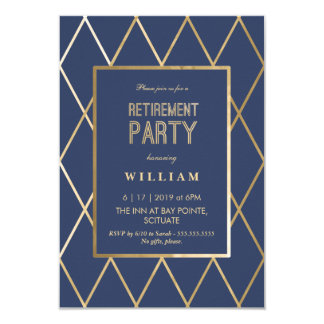 Retirement Party Invitation - Gold Elegant, Trendy