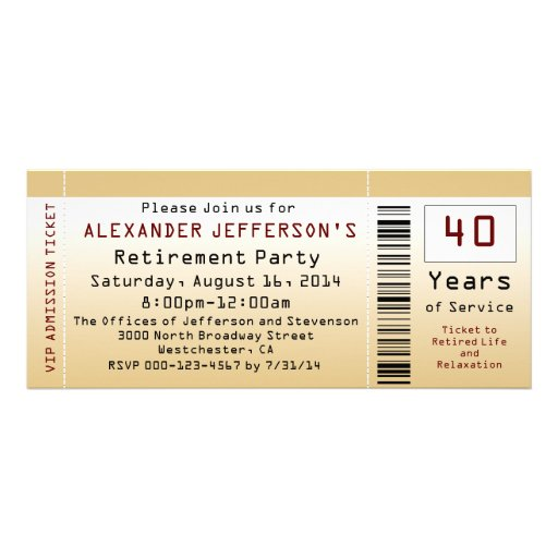 Retirement Party Invitation Goldtone Ticket