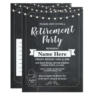 Retirement Party Rustic Bucket List Chalk Invite