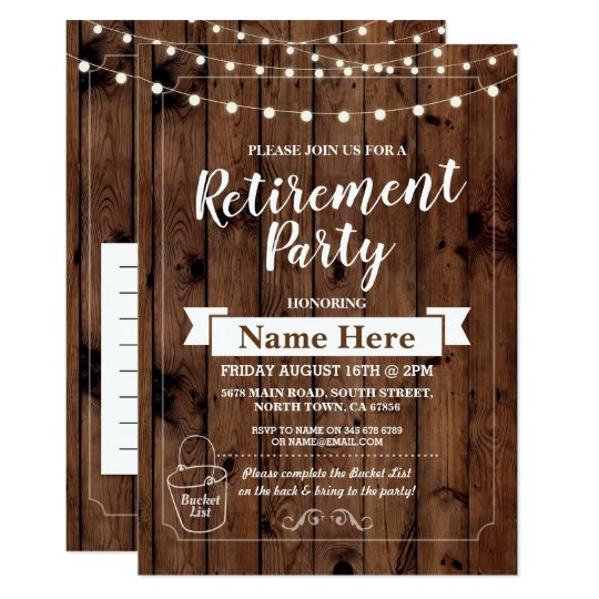 Retirement Party Rustic Bucket List Wood Invite