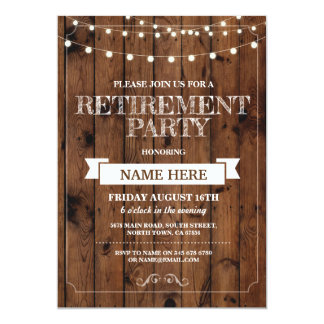 Retirement Party Rustic Retired Wood Invitation