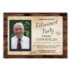 Retirement Photo Wood Rustic Party Invitation